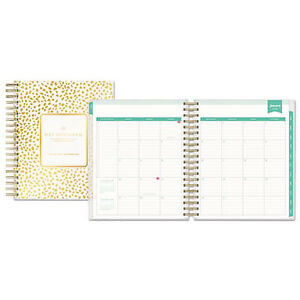 Day Designer Daily monthly Planner 8 X 10 Gold white 2019 103621