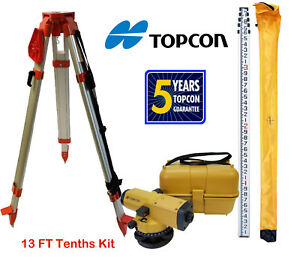 Topcon At b4a 24x Automatic Level With 13 Ft Tenths height Survey Rod