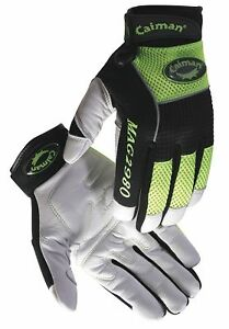 Caiman Mechanics Gloves S White high Visibility Lime 2980 3