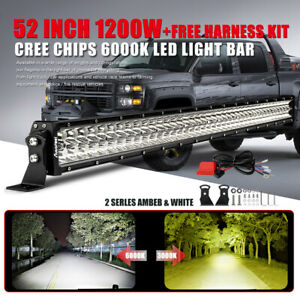 52 Inch Led Light Bar Dual Color Amber White Flash Offroad Fog Car Roof Pk 42 12