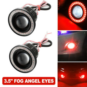 3 5inch Car Auto Angel Eyes Halo Ring Drl Lamp Cob Led Fog Light Projector Red