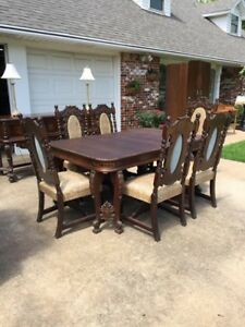 Antique Dining Room Set Baroque Hand Carved Walnut 100 Years Old