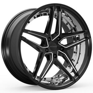 4 New 20 Inch Rosso 701 Reactiv 20x8 5 5x115 15mm Black Milled Wheels Rims