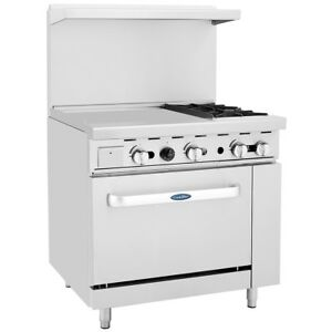 Atosa 2 Burner 36 Single Oven Gas Range With Left hand 24 Griddle Ato 24g2b
