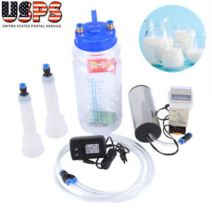 2l Bottles Electric Vacuum Milking Machine Cow Sheep Goat W Pulse Controller