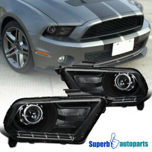 For 2010 2014 Ford Mustang Distinctive Black Projector Headlights Head Lamps