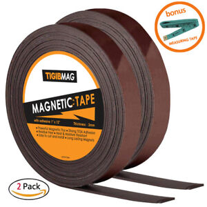 2 Flexible Magnetic Tape 1 X 12 Feet Magnetic Strip Roll Strong Self Adhesive