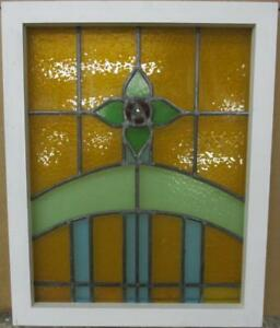 Old English Leaded Stained Glass Window Stunning Floral Design 19 5 X 24 25