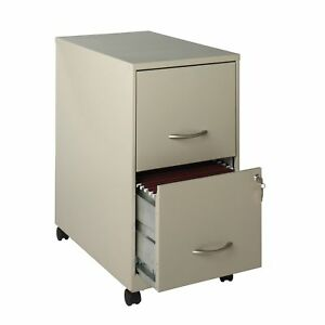 Space Solutions 22 Deep 2 drawer Metal Mobile File Cabinet Stone