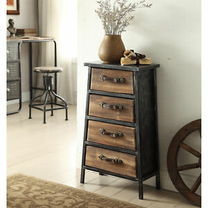 Urban Loft Collection Industrial Style Metal And Wood 4 drawer Chest