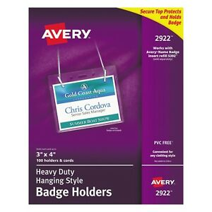 Avery Secure Top Hanging style Badge Holders Horizontal 4 inch Wide X 3 inch