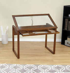 Drafting Table Brown Wood Glass Tilting Top Drawing Crafting Desk Furniture