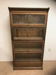 Oak Stacking Barrister Bookcase W Leaded Glass Doors