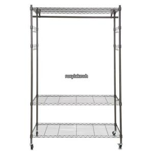 Wire Shelving Clothes Garment Rack Rolling Shelf Tidy Hanging 3 Tier 74 Free Sp
