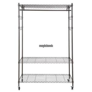 4 wheel Wire Shelving Clothes Garment Rack Rolling Shelf Tidy Hanging Heavy Duty
