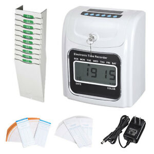Employee Attendance Punch Time Clock W 100 Cards 10 pocket Time Card Rack Kit