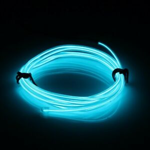 2m Ice Blue El Wire Car Interior Decor Fluorescent Neon Cold Strip Light