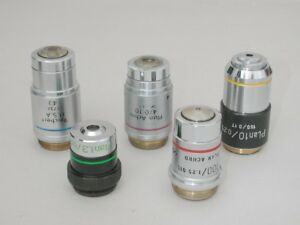 Lot Of Five Microscope Objectives Mostly Reichert 4x 10x 40x 100x Etc