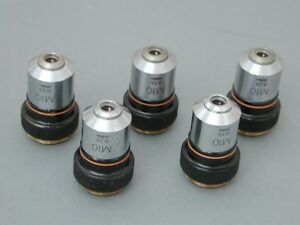 Lot Of 5 Olympus M 10x Microscope Objectives