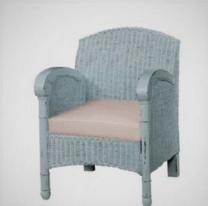 Wicker Chair Vintage Coastal Cottage Boho Style Linen Cornflower Blue