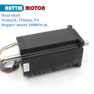 dual Shaft Nema34 Stepping stepper Motor 154mm 1600 Oz in 5a For Cnc Engraving
