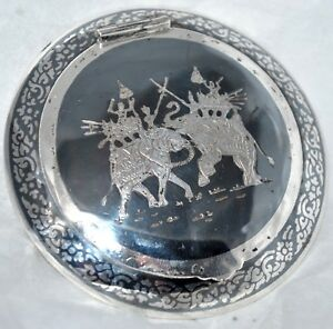 Vintage Siam Neillo Sterling Round Compact Box Engraved Double Elephants 46 Gr