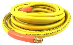 Forney 75435 Air Hose Yellow Rubber With 3 8 inch Male Npt Fittings On Both