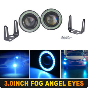 3inch Angel Eyes Halo Ring Drl Lamp Cob Led Fog Light Projector Car Ice Blue