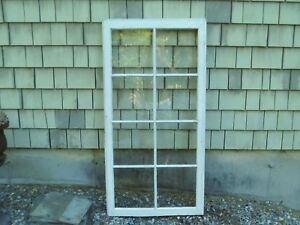 Antique Vintage Wood 8 Glass Pane Cabinet Door Window