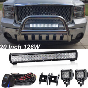 126w 20in Led Light Bar Combo Offroad For Suv With Spot Wiring Switch Kit