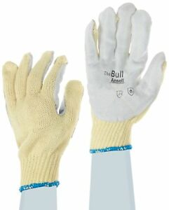 Ansell 70 282 Leather Pad Glove Cut Resistant Knitted Kevlar Liner X large