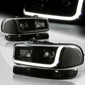 For 1999 2006 Gmc Sierra 1500 2500 Drl Led Black Smoke Headlights bumper 4pcs