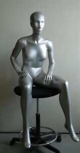 Female Mannequin Full Body Sitting Pose In Silver