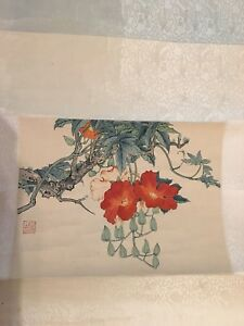 Antique Chinese Ink Wash Painting Hanging Scroll Flower And Tree Signed