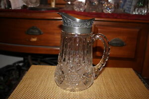 Antique Brilliant Cut Glass Pitcher Silver Metal Top Large Handle