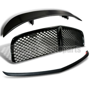 2006 2010 Dodge Charger Abs Mesh Hood Grille Bumper Lip Spoiler Trunk Wing Black