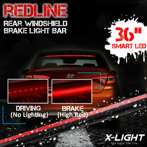 diy universal Led Rear Roof Spoiler 3rd Red Brake Light Windshield Add on Kits