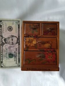 Antique Miniature Collectors Chest Of Drawers Pine Salesman Sample Doll House