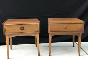Mid Century Pair Of Walnut Wood Nightstands Side Tables