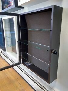 Display Case W Glass Shelves Showcase Anything Black Or White Wood Shadow Box