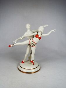 Art Deco Aelteste Volkstedter Porcelain Figurine Male Female Ballerina Dancers