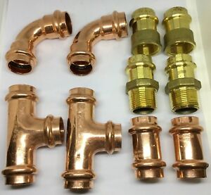 3 4 Propress Copper Fitting Lot Of Ells Couplings Tees Female And Male Adapt