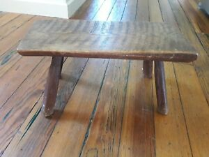 Primitive Early 1800 S Wood Bench Pine Slab W Tight Mortise 4 Legs Farm Milled
