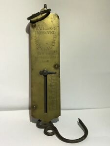 Vintage Brass Chatillon S 12 Pound Improved Spring Balance Hanging Scale