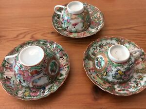 19 C Antique Chinese Export Rose Medallion 3 Cups Saucers