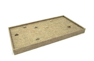 Burlap Covered Ring cuffling Storage Tray With 72 Ring Burlap Insert