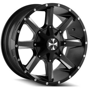 4 New 20 Inch Cali Offroad 9100 Busted 20x9 8x180 0mm Black Milled Wheels Rims