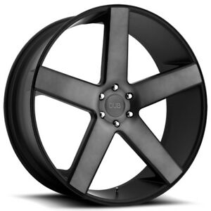 22 Inch Dub S116 Baller 22x9 5 5x139 7 26mm Black machined tint Wheel Rim