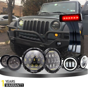 7inch Led Headlight brake Light turn Signal Lights fog Lights Jeep Wrangler