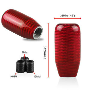 Carbon Fiber Manual Transmission Aluminum Gear Shift Knob Shifter Lever Red